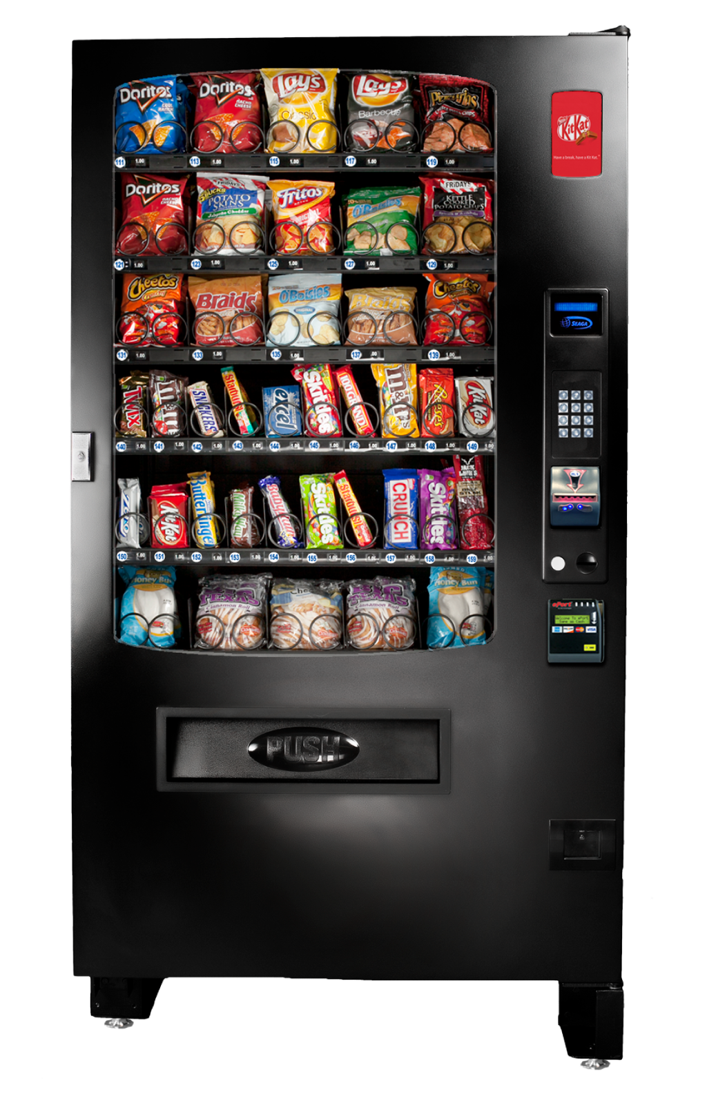 A valuable addition to our glass front vending family the INF5S is great for locations with limited space and that don't need separate merchandisers for beverages & food