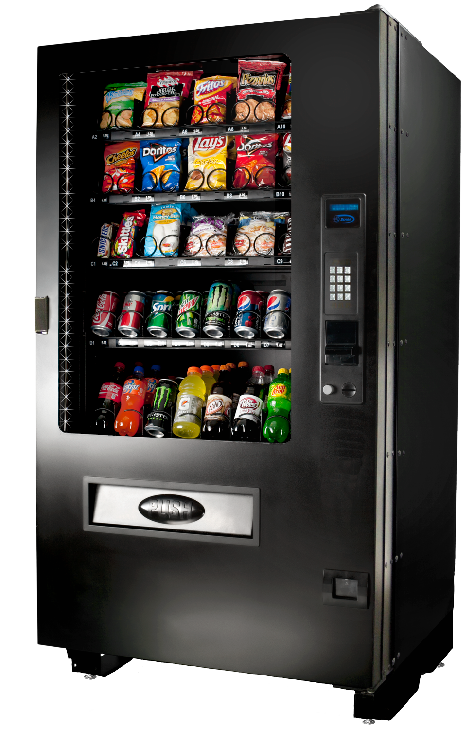Perfect for outdoor locations, Seaga's INF5CX is a combo vending machine gives operators the opportunity to offer service to their customers in the rain, sleet, or snow.