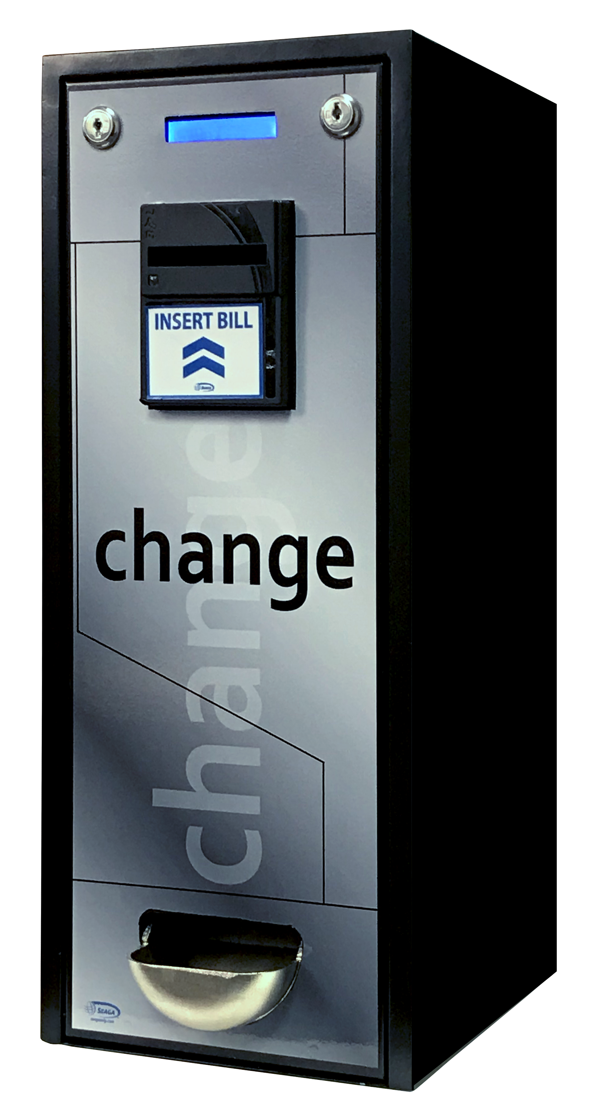 bill change machine that accepts US $1, $5, $10 and $20 and offers change in US Quarters