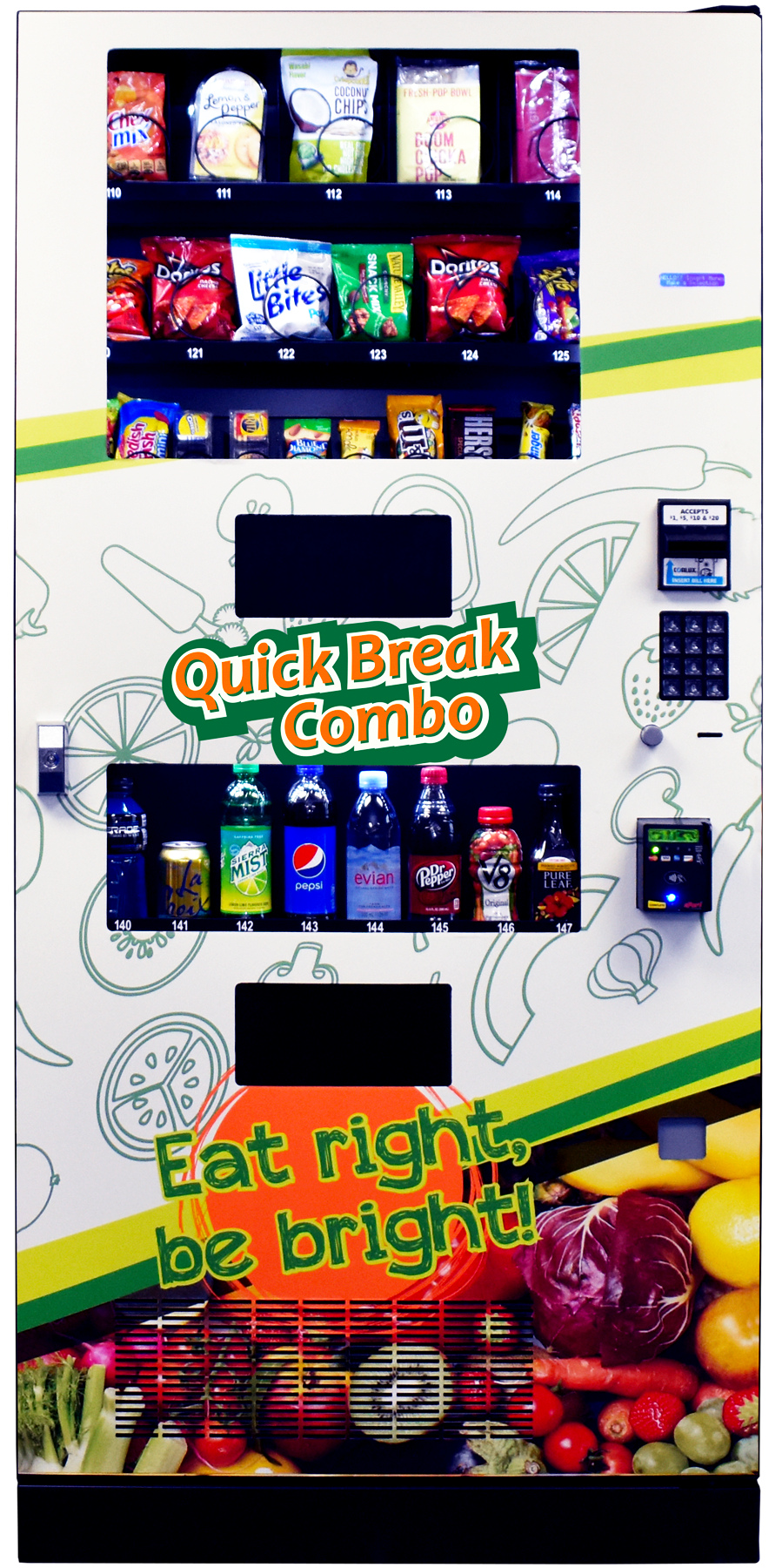 A sleekly engineered combo machine the Quick Break Combo is a valuable addition to our vending family.